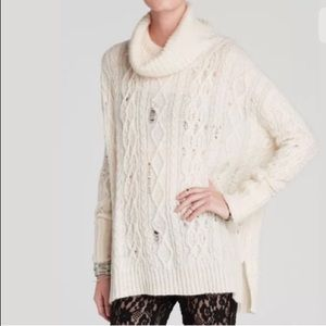 Free People Complex Cable Cowl Neck Pullover